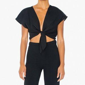 Black linen tie top by American Apparel